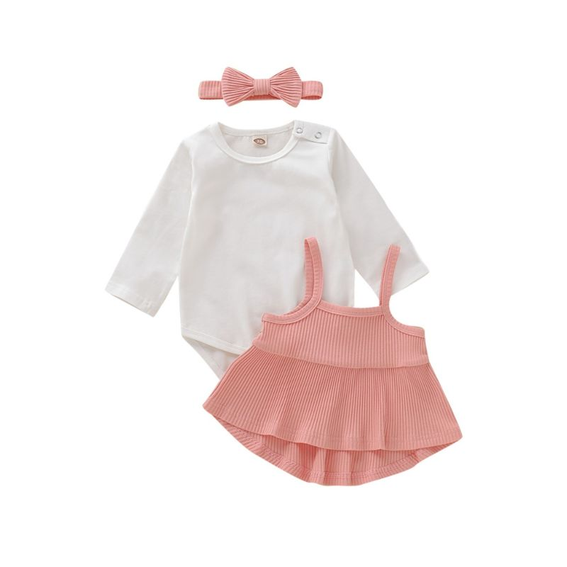 3-Piece Fall Baby Girl Set White Bodysuit & Ribbed Top & Headband