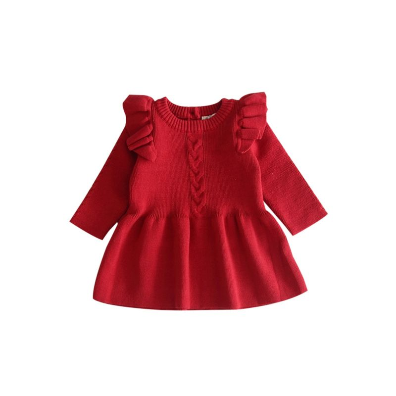 Fall Baby Toddler Girl Solid Color Flutter Sleeve Knit Dress