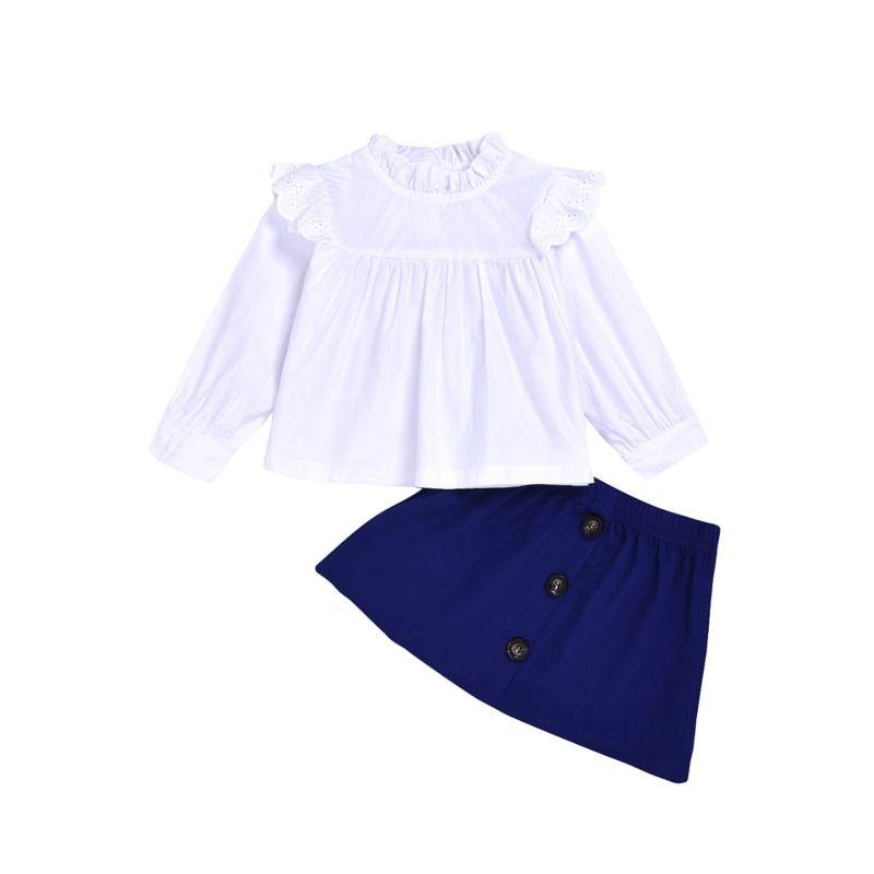 2-Piece Fall Flutter Sleeve White Top & Skirt Set