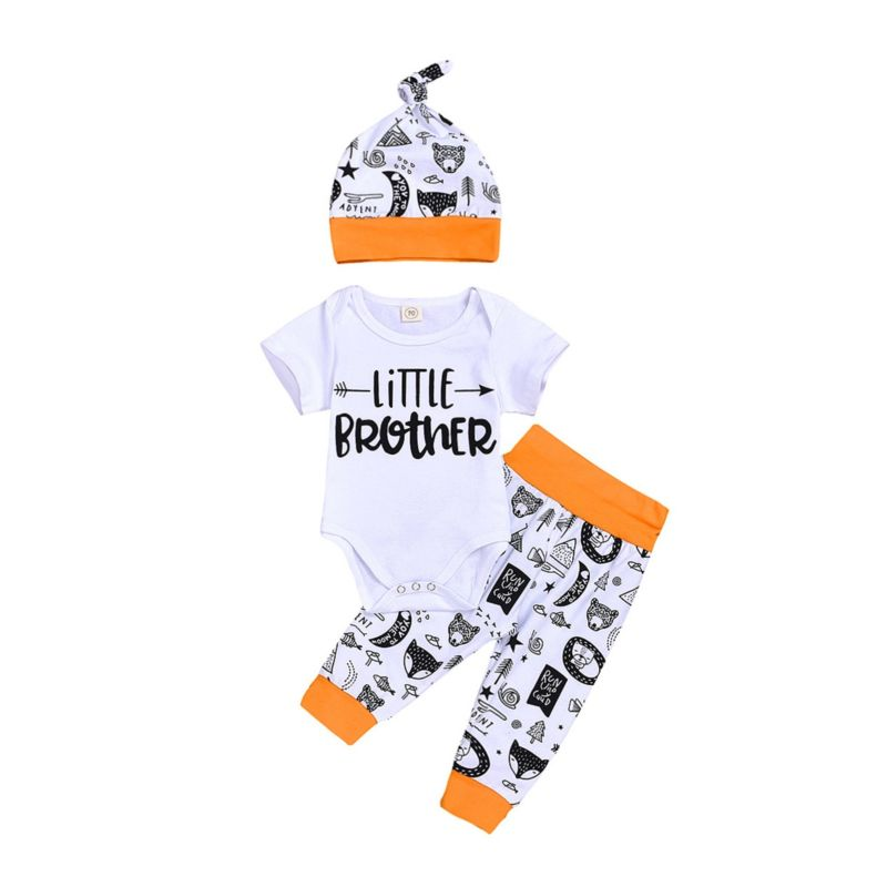 3-Piece Baby Boy Little Brother Animal Outfits Romper & Pants & Hat