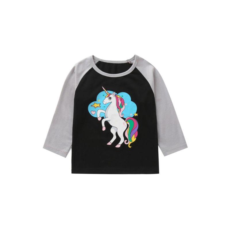 Cartoon Unicorn Color Blocking T-shirt Long-sleeved