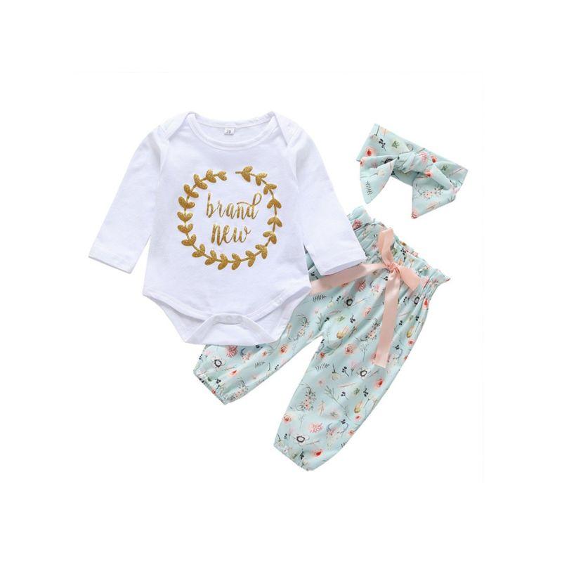 3-Piece Baby Girl New to the Crew Flower Set Onesie+Pants+Headband