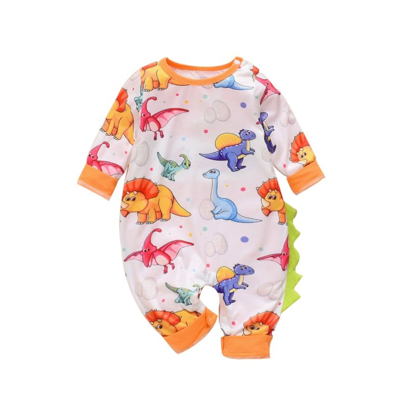 Baby Boy Cartoon Dinosaur Jumpsuit Long-sleeved