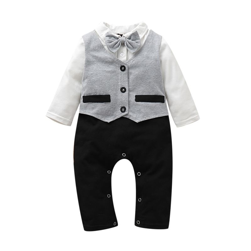 Fall Baby Boy British Style Bow Tie Jumpsuit