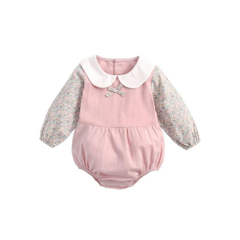 Autumn Baby Girl Peter Pan Collar Floral Playsuit