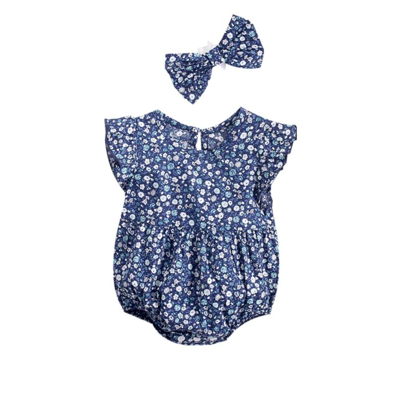 2-Piece Summer Baby Girl Flutter Sleeve Floral Playsuit Matching Headband