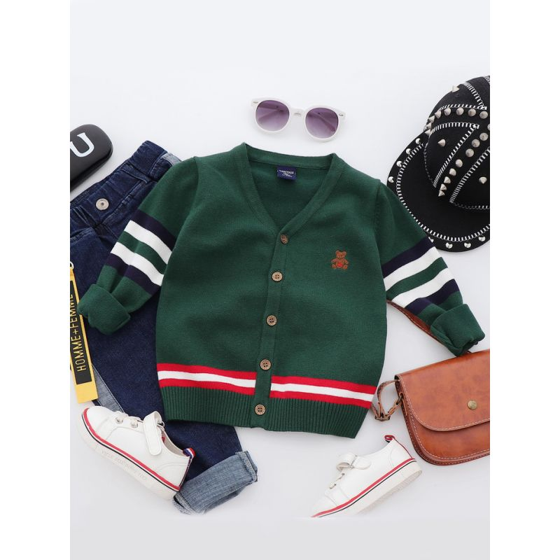 5PCS/PACK Classic Bear Emboridery Striped Cardigan Toddler Big Boys Knitted Coat for Spring Autumn