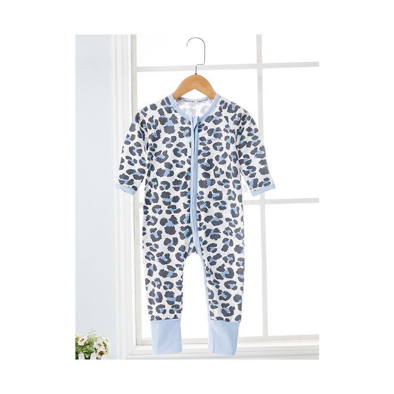 e4177cbaf0 Unique Leopard Print Zip Baby Romper Onesie Long Sleeve Kids Pajama Jumpsuit