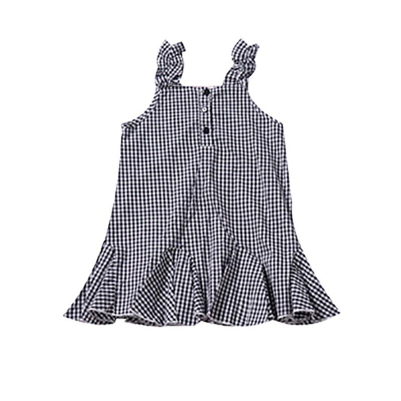 White & Black Checked Frilled Sundress Baby Little Girl Shift Dress