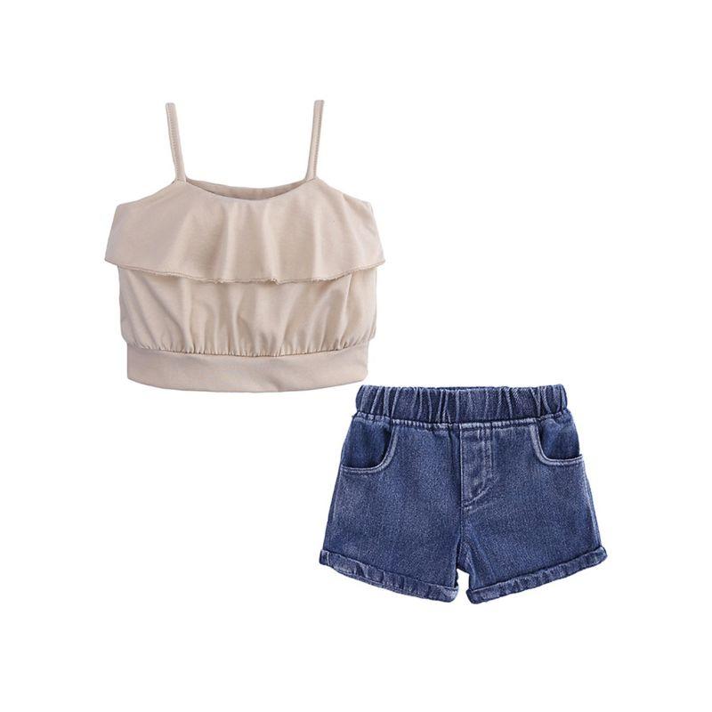 2-Piece Stylish Infant Big Girl Suspender Top+ Short Jeans Set for Summer
