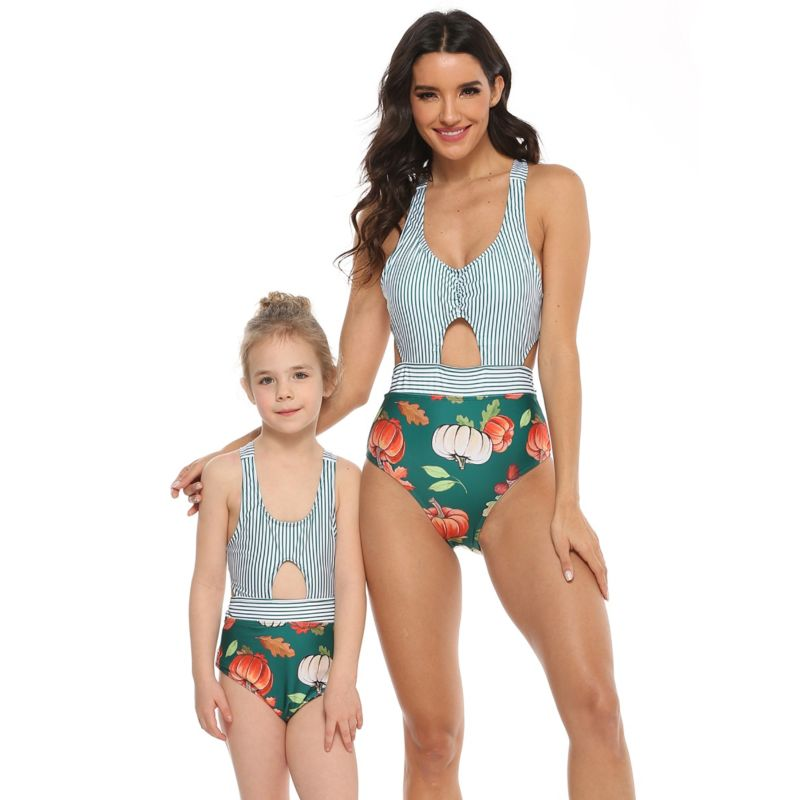 Mommy and Me Pumpkin One Piece Swimwear Wholesale