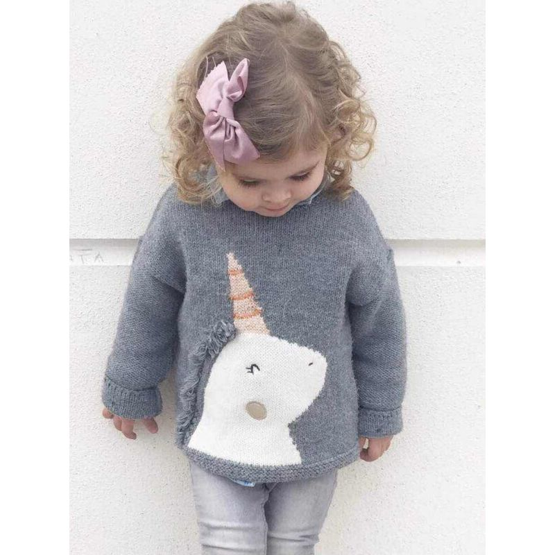 Unicorn Gray Knitting Pullover Sweater for Babies Toddlers baby fashion trendy toddler clothes wholesale