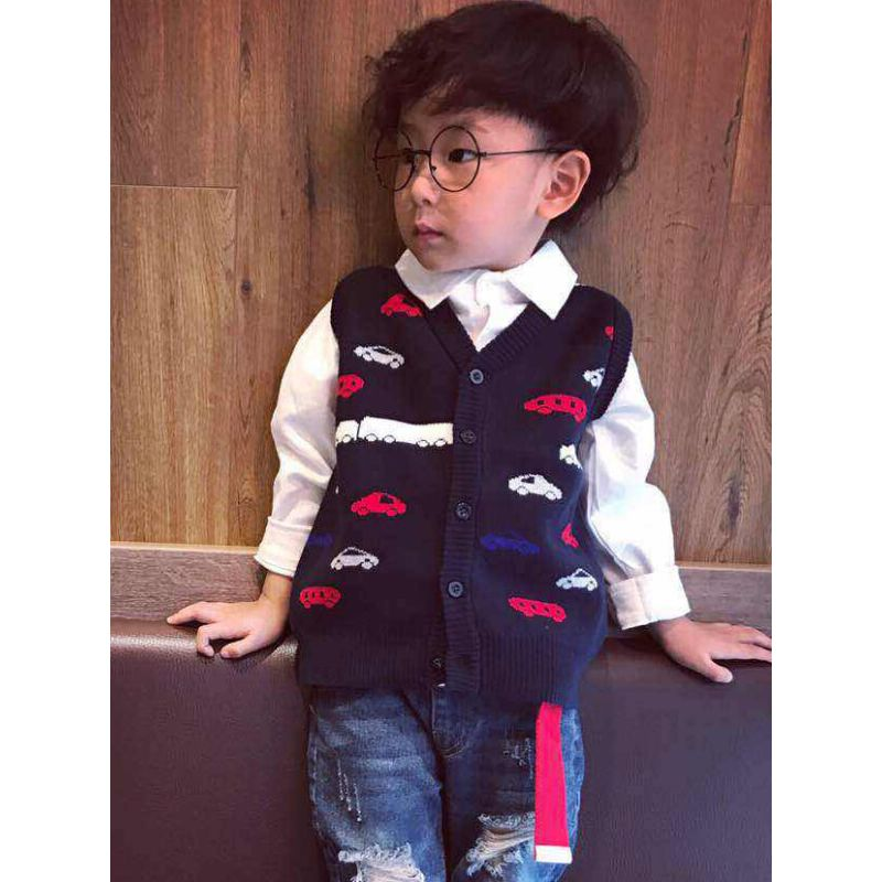 Cars Pattern sleeveless Knitting Cardigan Sweater Vest  for Toddlers Boys