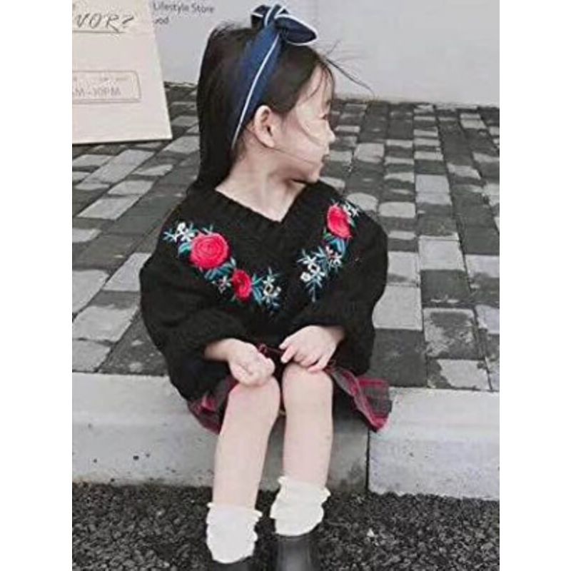 Kiskissing Flowers Pattern black Knitting Embroidery Sweater for Toddlers Girls wholesale childrens clothing