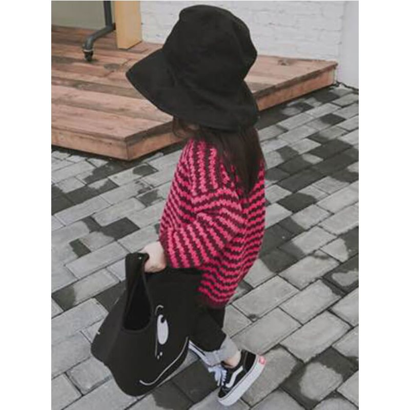 Red Stripe Crochet Pullover Knitwear Sweater for Toddlers Boys Girls