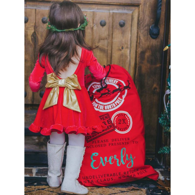 Bow Tie Velvet Backless Red Princess Dress for Babies Toddlers