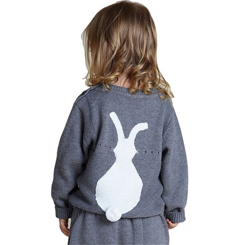 Kiskissing Bunny Pullover Knitwear Sweater Sweatshirt for Babies Toddlers the reverse side wholesale childrens clothing