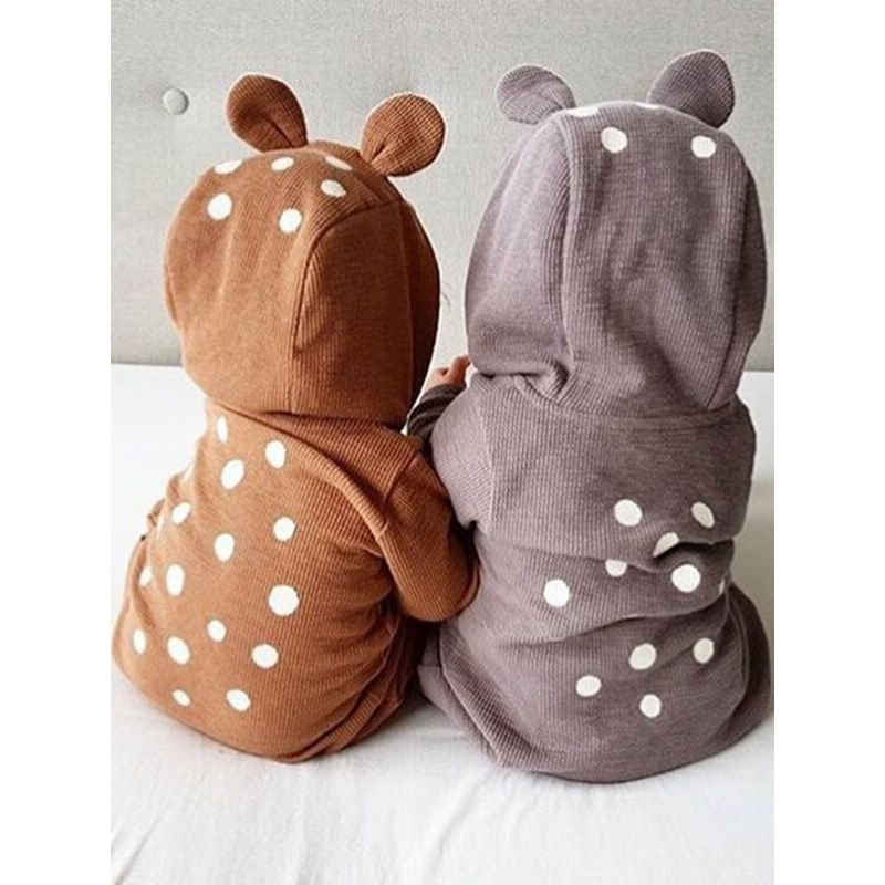 Kiskissing Hoodie Dotted Bear Style Romper Sleepsuit Jumpsuit for Babies brown and grey colors available wholesale baby clothes