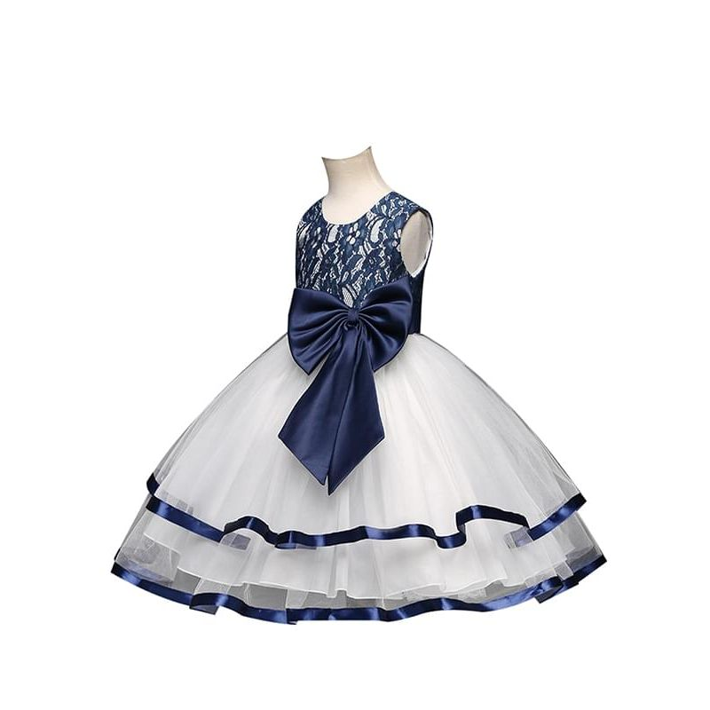 Bow Pierced Lace Ruffled Tulle Tutu Party Princess Dress for Toddlers Girls