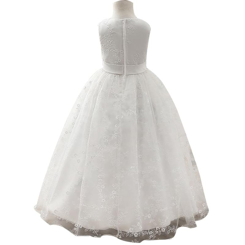 Kiskissing Zip-up Embroidered Lace Ruffled Tulle Party Princess Dress for Toddlers Girls the reverse side wholesale kids clothing