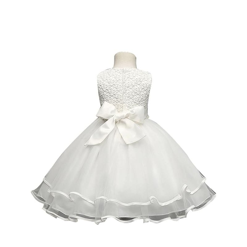 Kiskissing white Beads Belt Bow Ruffled Tulle Tutu Party Princess Dress for Toddlers Girls the reverse side wholesale princess dresses