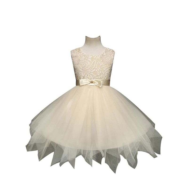 Kiskissing Bow Ribbon Belt Asymmetrical Ruffled Tulle Tutu Party Princess Dress for Toddlers Girls the obverse side wholesale princess dresses