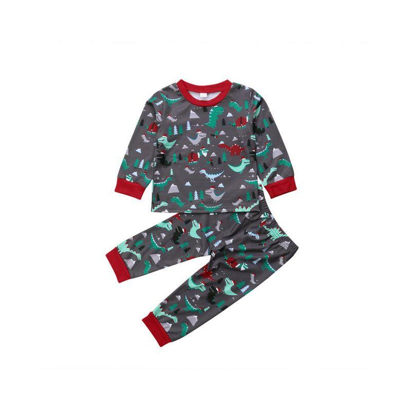 2-piece Christmas Theme Infant Toddler Big Boys Dinosaur Pajamas Set Pullover+Pants