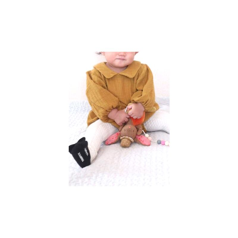 Linen Baby Toddler Rompers Onesie Doll Collar Bishop Sleeve Jumpsuit