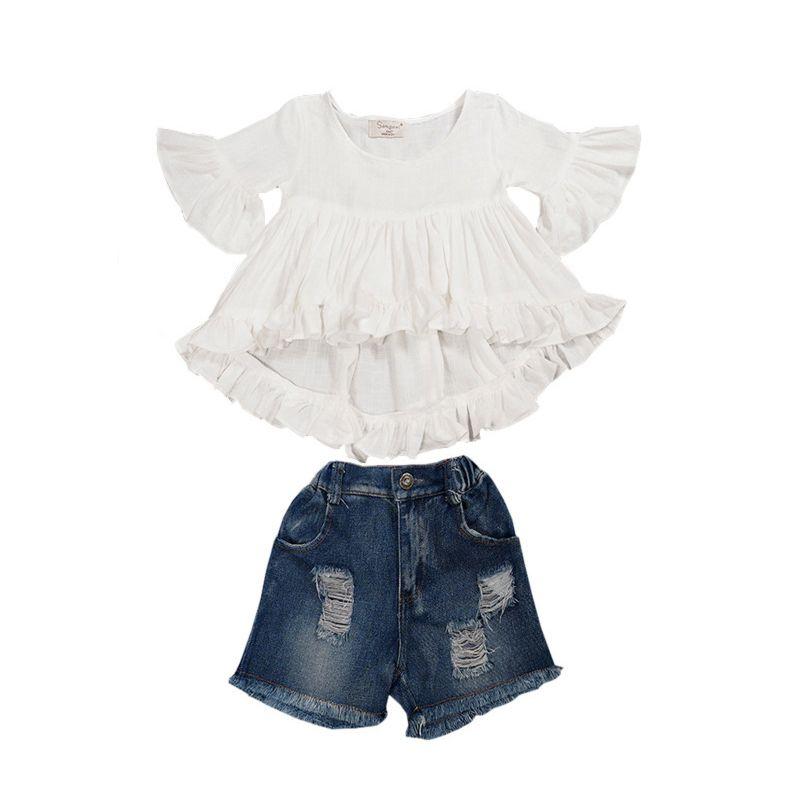 2-Piece Toddler Big Girl White Short Frilled Bell-sleeve Asymmetrical Hemline Blouse Top + Fringe Hem Frayed Short Jeans Set