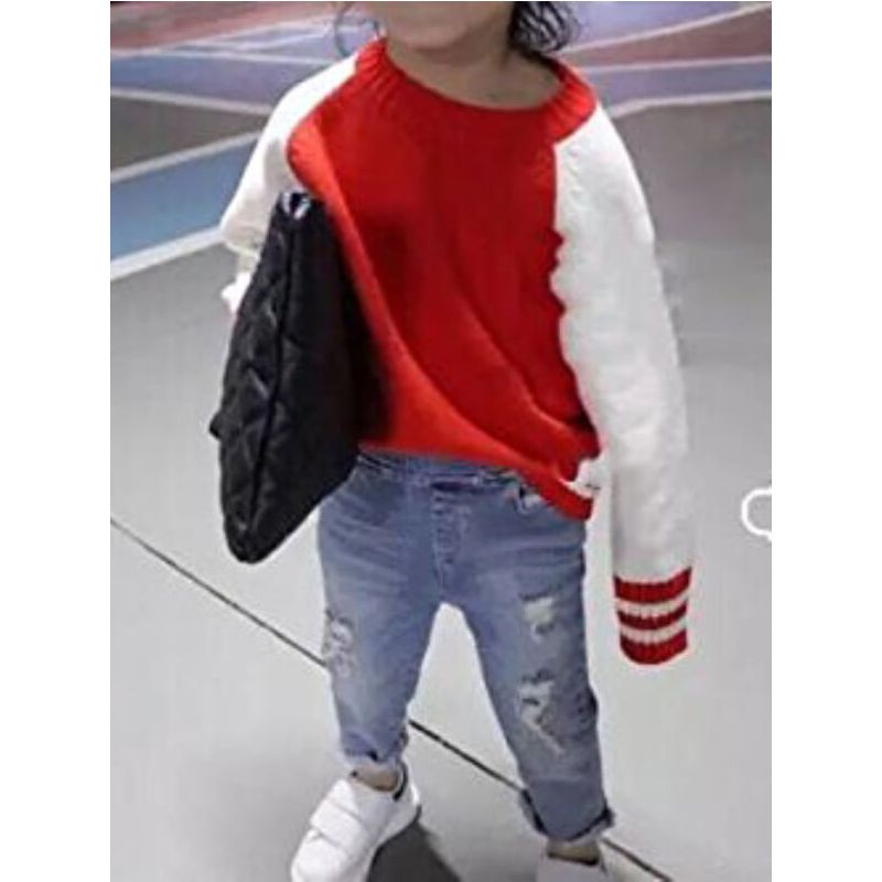 Pullover Knitting Sweater Baseball Jersey Top Sweatshirt for Toddlers Boys Girls