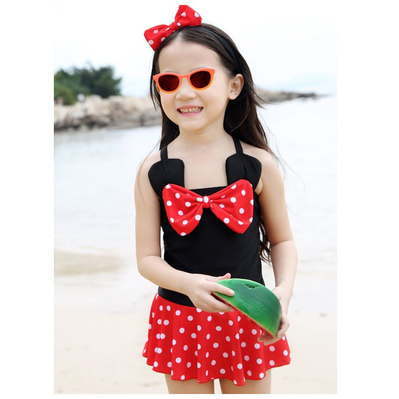 Cute Infant Little Girl Bow Polka Dots One-Piece Swim Suit with Headband