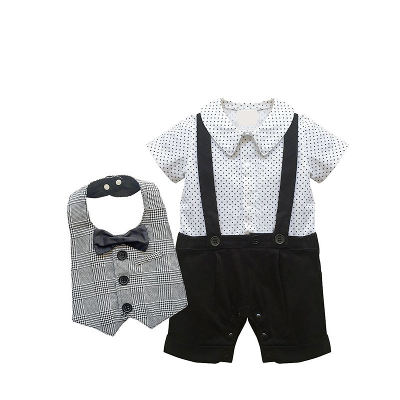 Kiskissing 2-piece Bib Overalls Set Summer Polka Dot Sleeveless Baby Romper Jumpsuit Bowknot Plaid Bib For Baby Boys wholesale baby clothes suppliers