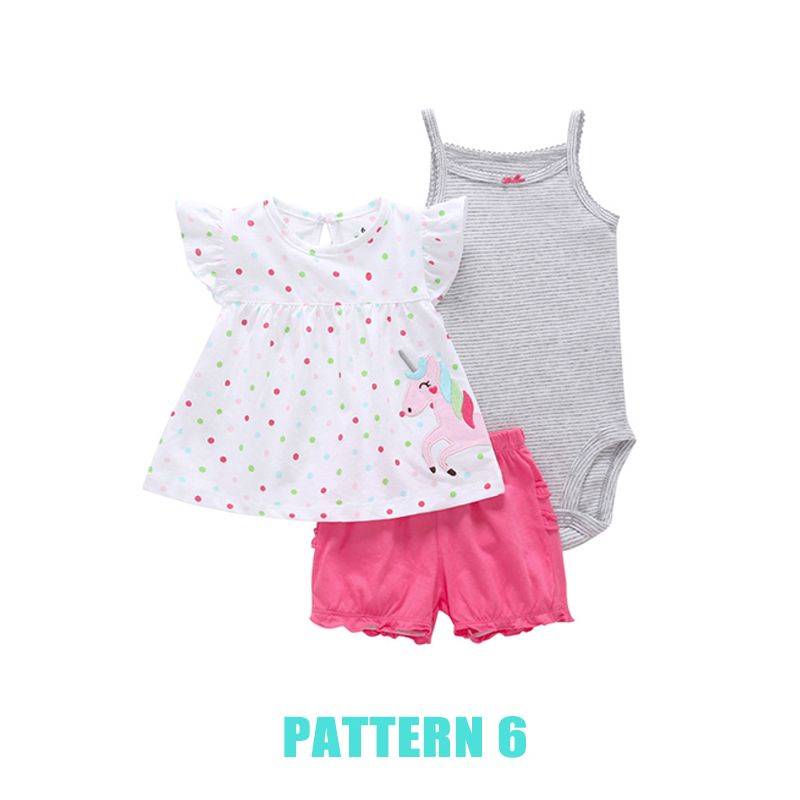 3-piece Romper Top Shorts Baby Set Cute Cartoon Print T Shirt Solid Color Shorts