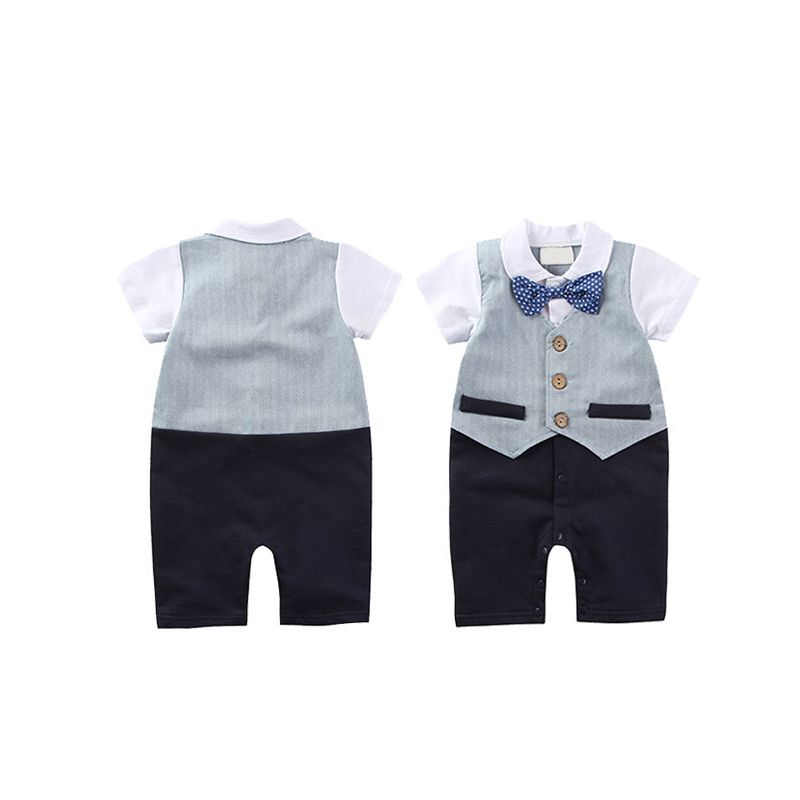 Kiskissing Hot Sale Overalls Short Sleeve Bowknot Newborn Romper Jumpsuit For Baby Boys wholesale baby boys suit