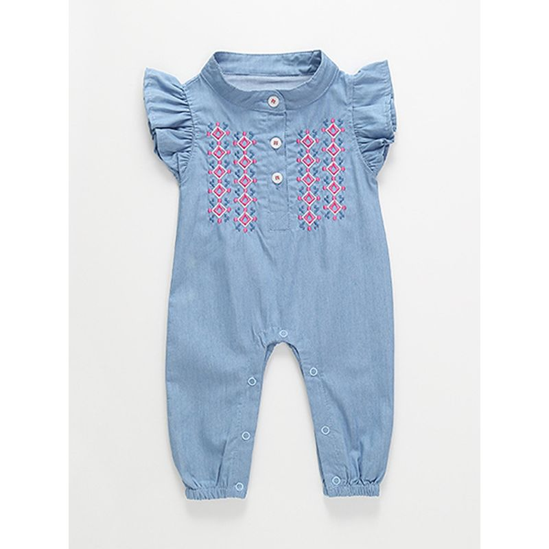 bbed92b3e4f Embroidery Cap Sleeves Blue Baby Girl Romper Jumpsuit Onesies