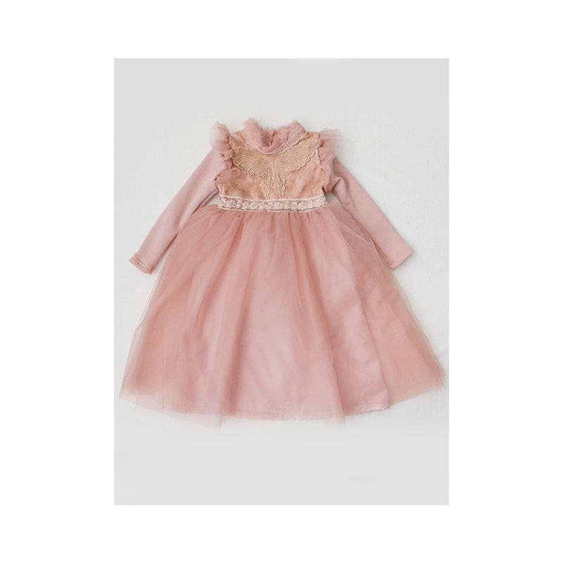 Stylish Fleece-lined Flutter Sleeve Butterfly Lace Trimmed Princess Tulle Dress Toddler Kids Frock for Winter