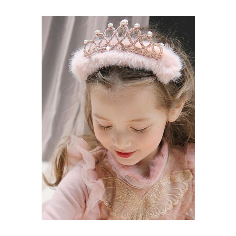 Faux Fur Beaded Princess Crown Hair Clasp Headband