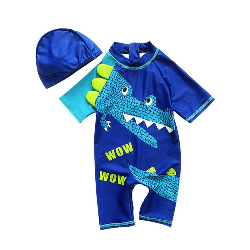 Cartoon Dinosaur Little Big Boy Swimsuit with Swim Cap