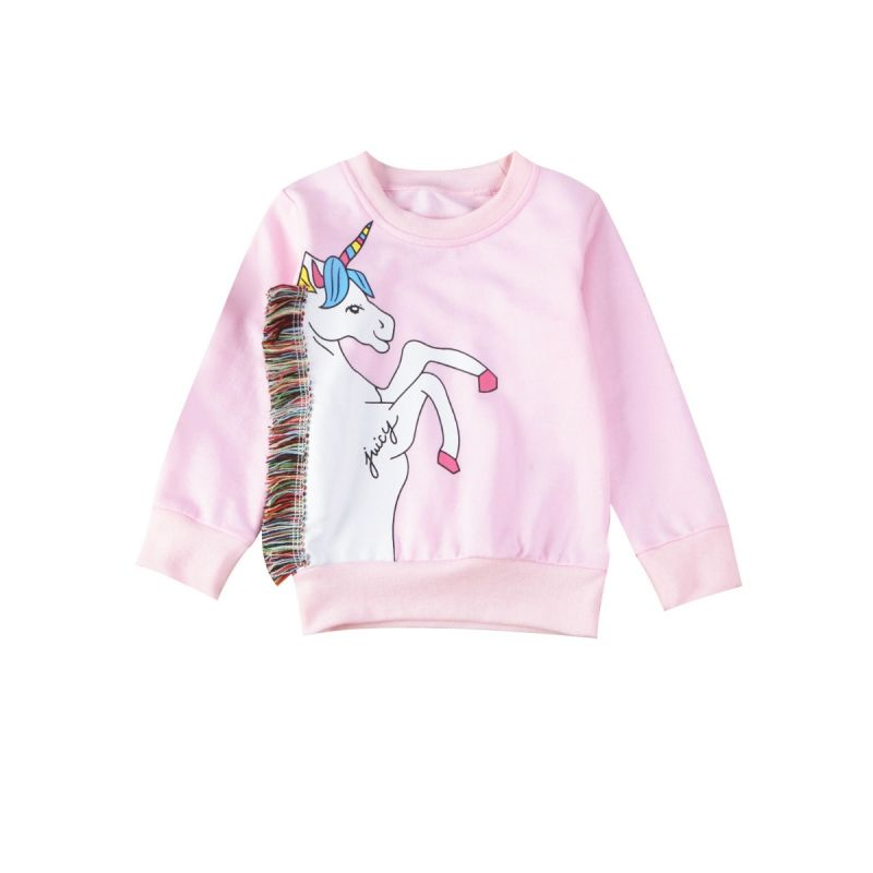Stylish Colorful  Little Big Girl Kids Tassels Trimmed Unicorn Jumper Sweatshirt