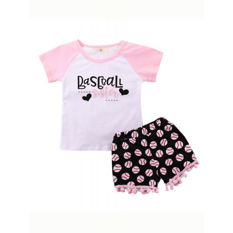 2-piece Little Big Girl Summer Top & Shorts Outfit Set BASEBALL SISTER Color-blocking T-shirt+Pom Pom Trimmed-Hem Baseball Shorts