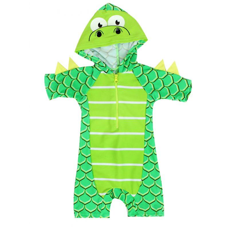 Cartoon Dinosaur Style Hooded Bathing Suit Sun Protection Swimwear