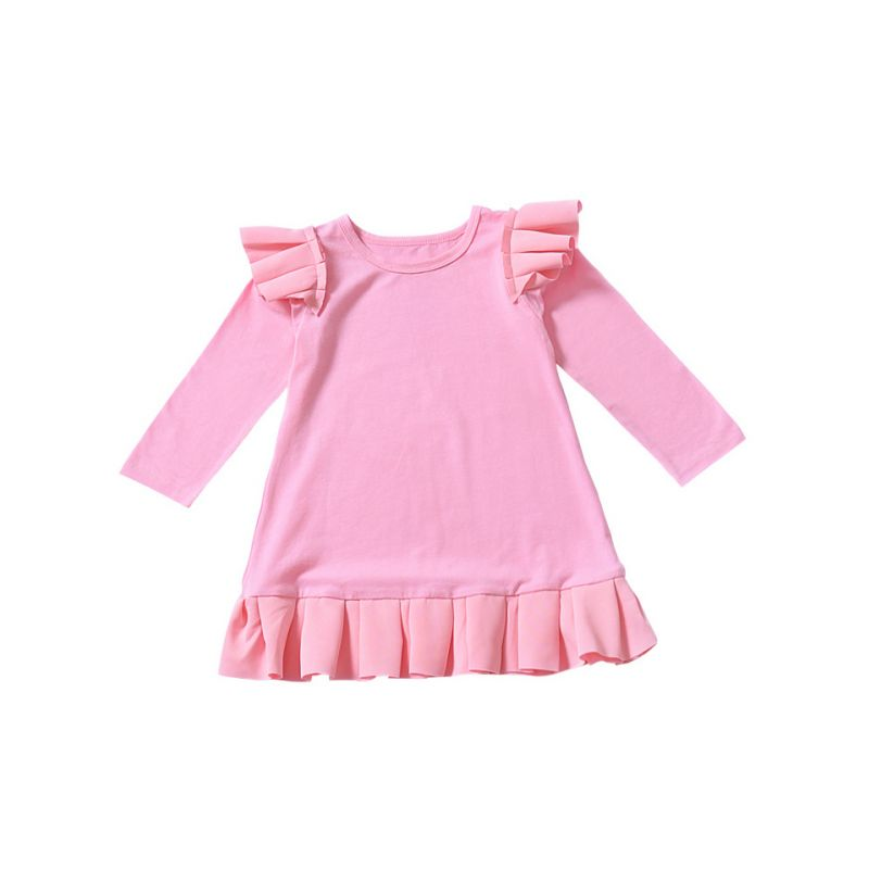 Ruffled Flutter Sleeve Casual Dress  for Baby Toddler Girls Solid Colour Kids One -piece Dress Autumn Red/Pink/White