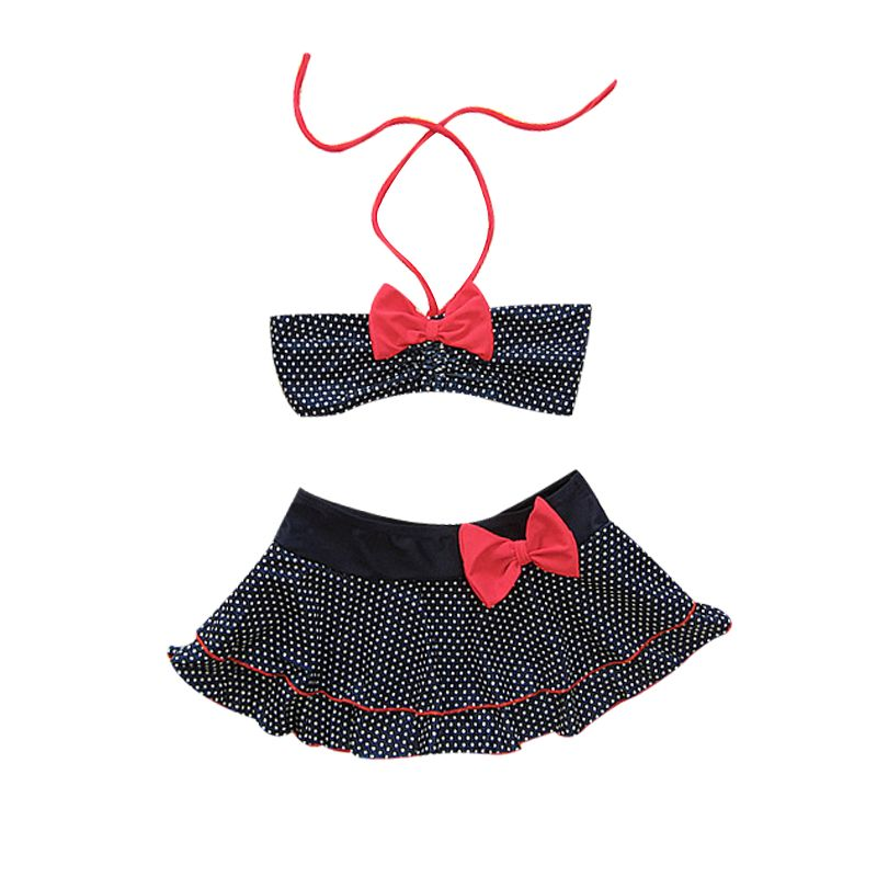 2-piece Summer Halter Top Bowknot Tankini Kids Swimwear Swimsuit