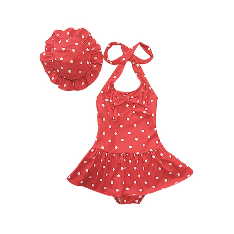 Kids Girl's Summer Polka Dots Bowknot Swimsuit with Ruffle Hat