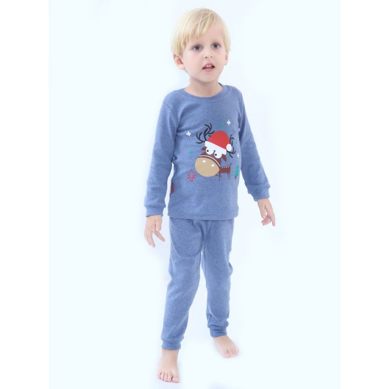 5 SETS/PACK  Reindeer Toddler Kids Christmas Homewear Pajama Set Reindeer T-shirt Pullover+Pants