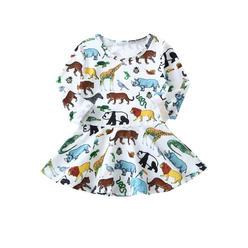 Cartoon Animal Infant Little Girl Spring Casual Dress