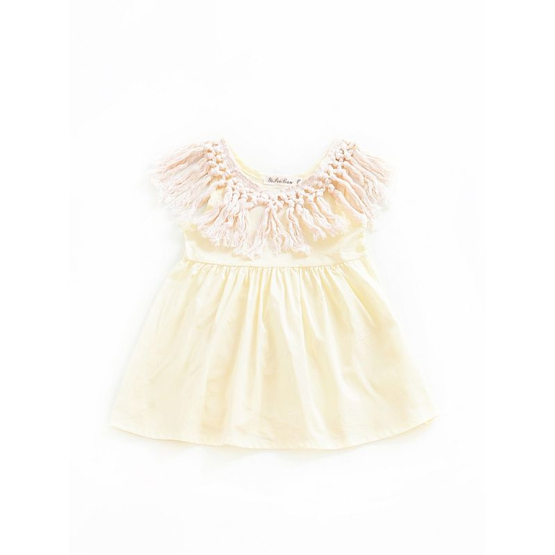 Stylish Tassels Trimmed Baby Summer Dress Infant Beach Dress