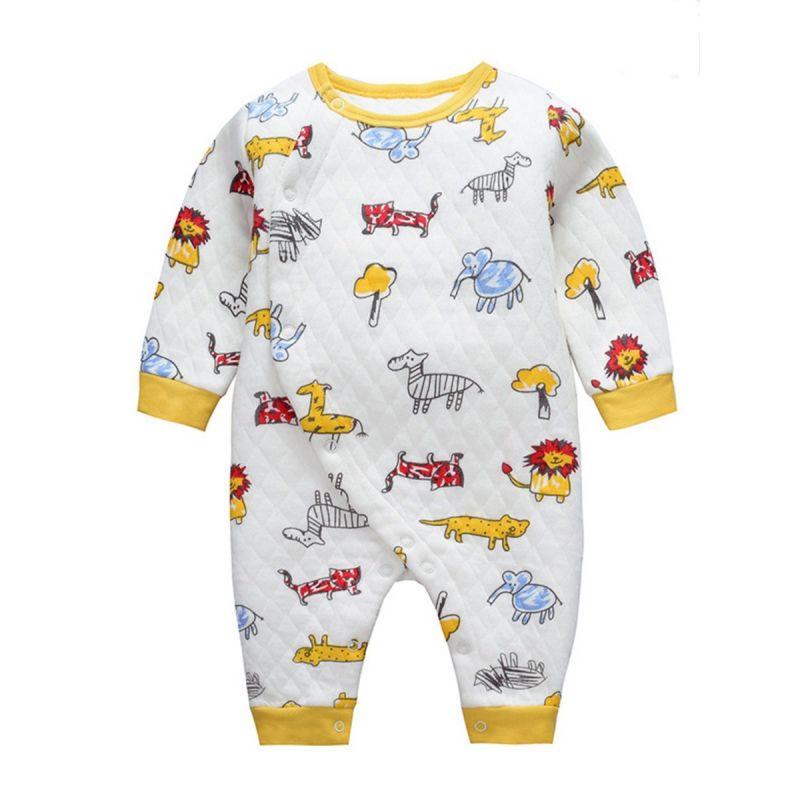 Cartoon Animal Buttoned Newborn Baby Romper Winter Jumpsuit