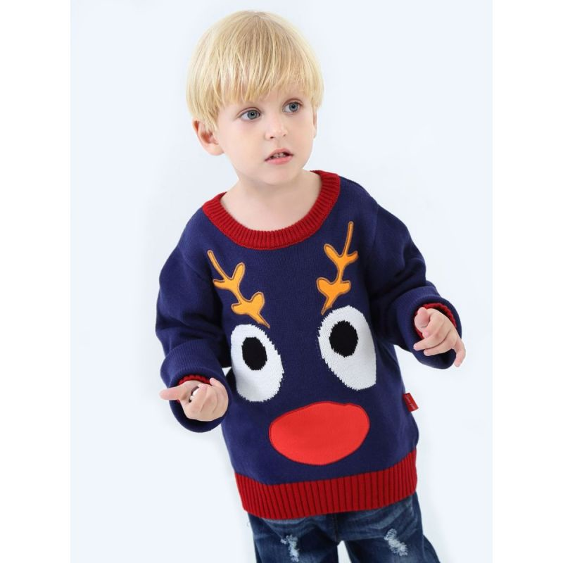6PCS/PACK Cartoon Big Eyes Crochet Color Blocking Sweater Toddler Kids Knitted Christmas Jumper