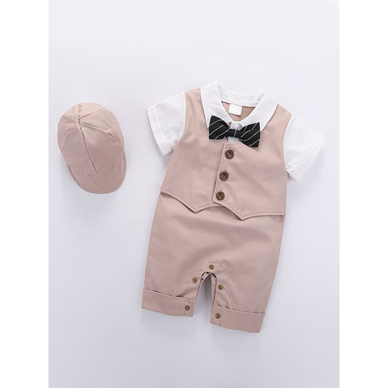 Kiskissing khaki 2-piece Romper Hat Set Pullover Bow-knot Formal Style Summer Jumpsuit for Baby Boys wholesale baby onesies